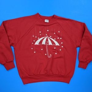 Vintage Sweaters - Vintage Sweatshirt Large 50/50 Hearts Umbrella